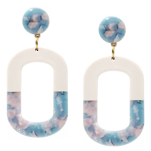 Geometric Color Block Oval Hoop Drop Earrings