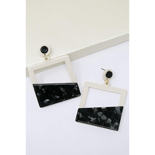 Geometric Color Block Square Acetate Drop Earrings
