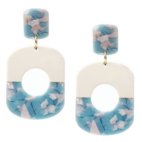 Geometric Color Block Thick Oval Hoop Drop Earrings