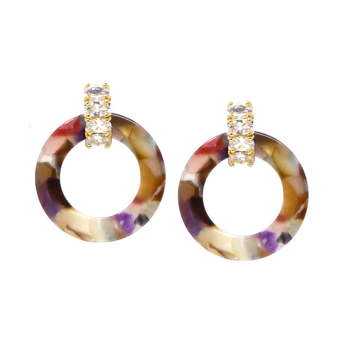 Oval Glass Stone Huggie With Acetate Hoop Earrings