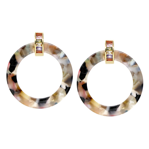 Acetate Hoop Drop Glass Stone Huggie Earrings