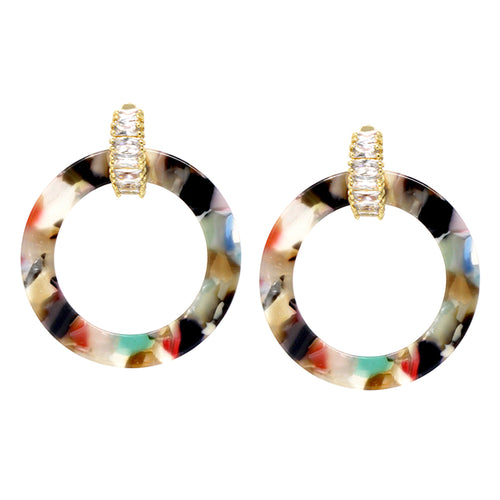 Rectangle Glass Stone Huggie With Acetate Hoop Drop Earrings