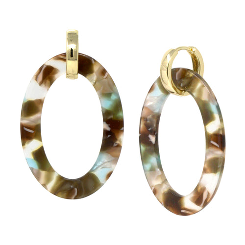 Shiny Metal Huggie With Oval Hoop Drop Earrings