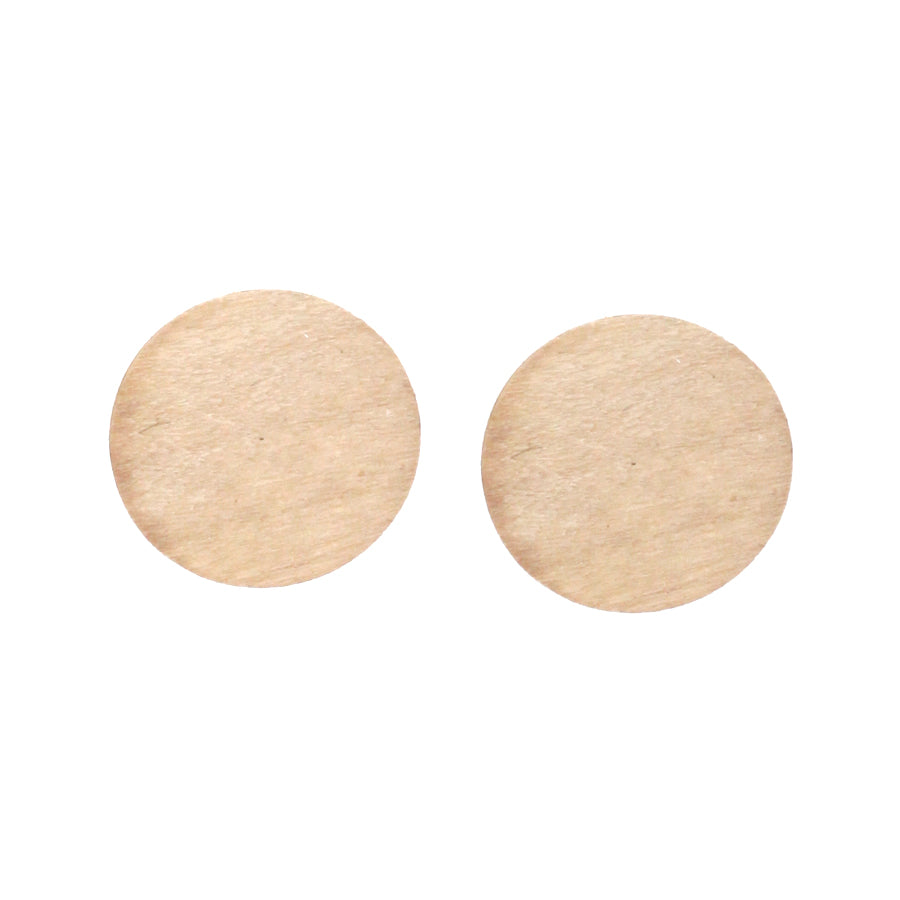 Wood Disc Stud Earrings