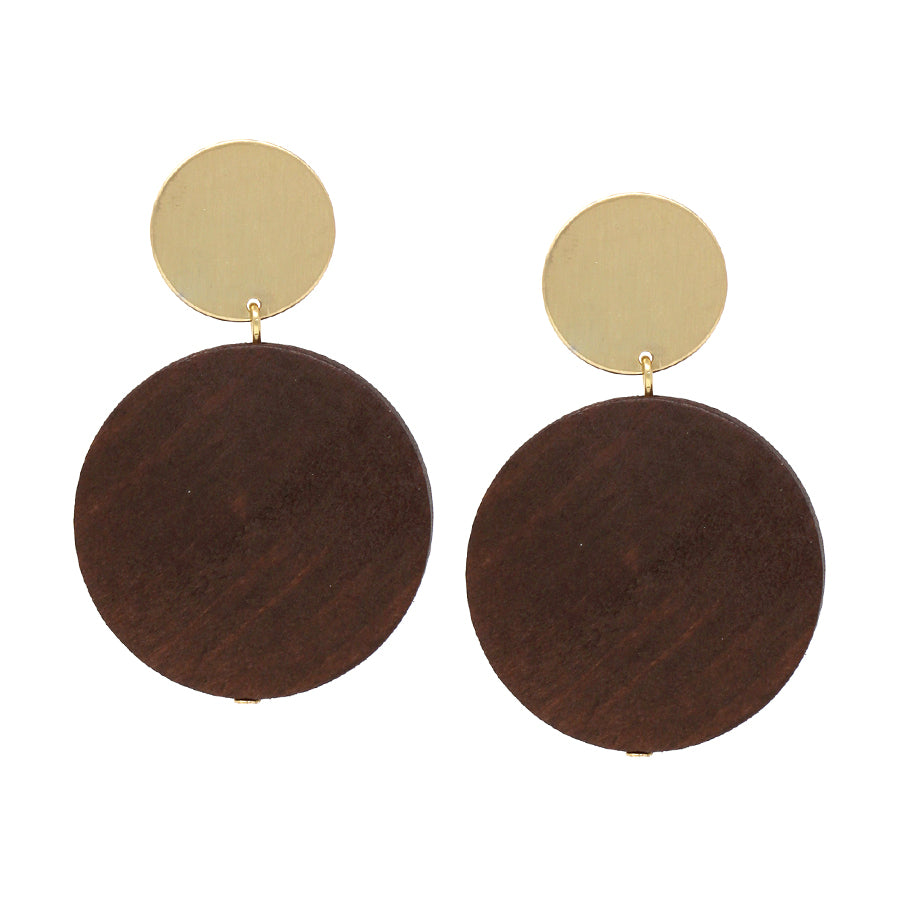 Satin Finished Metal With Wood Disc Drop Earrings