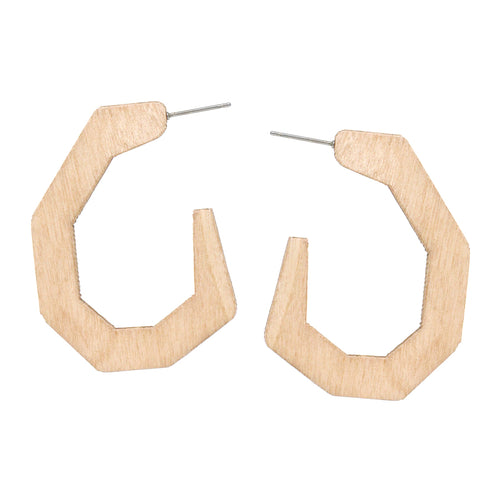 Carved Wood Hoop Earrings
