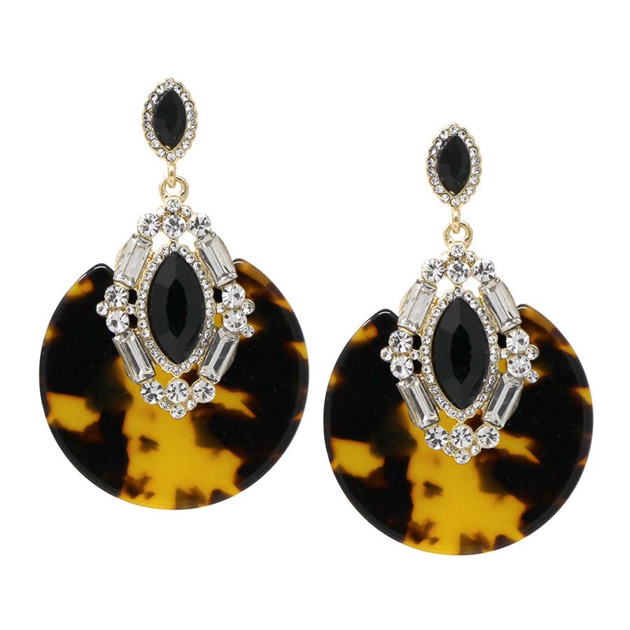 Glass Stone Cluster With Acetate Disc Drop Earrings