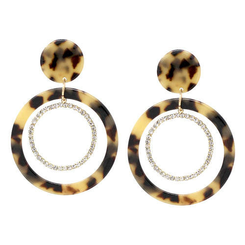 Acetate Hoop With Pave Glass Stone Hoop Drop Earrings