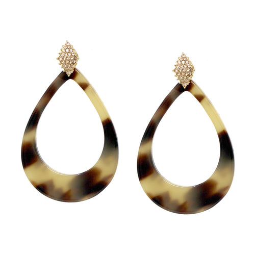 Pave Glass Stone Marquise Shape Top With Tear Drop Acetate Earrings