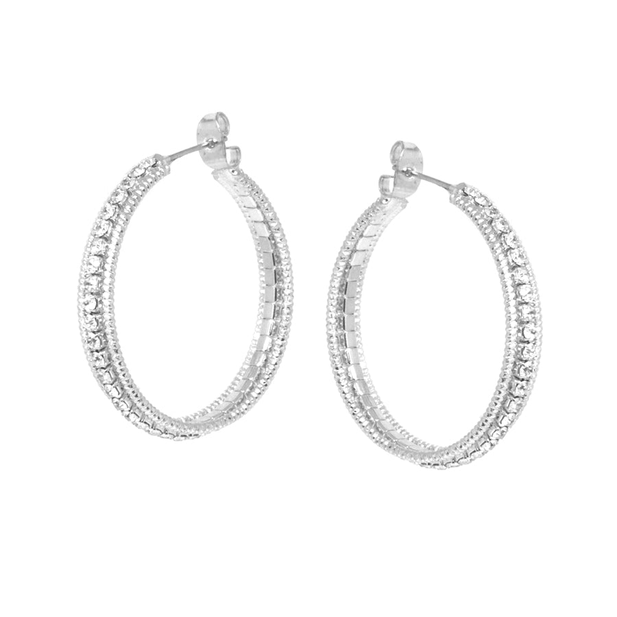 Metal Hoop With Rhinestone Hoop Triple Layered Earrings (Small)
