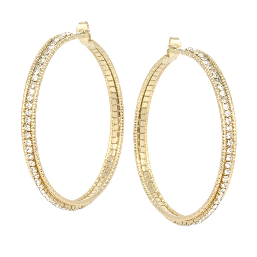 Metal Hoop With Rhinestone Hoop Triple Layered Earrings (Large)