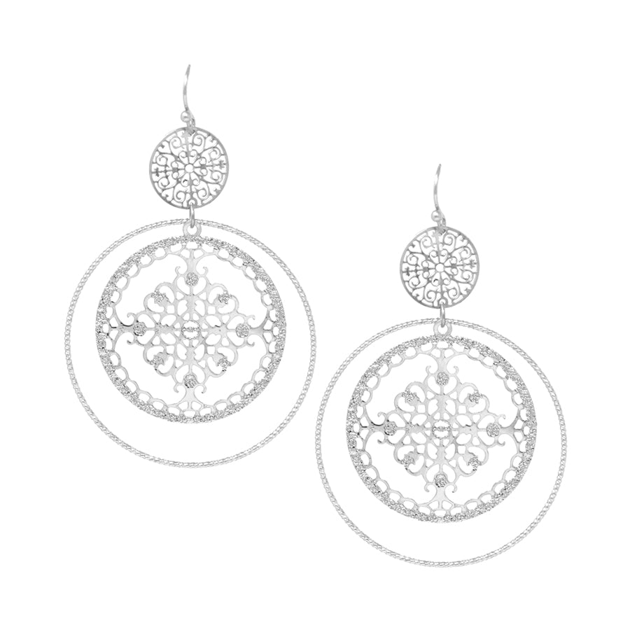 Filigree Disc With Skinny Hoop Drop Earrings