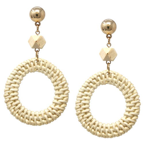 Circle Straw With Wood Carved Ball Drop Earrings