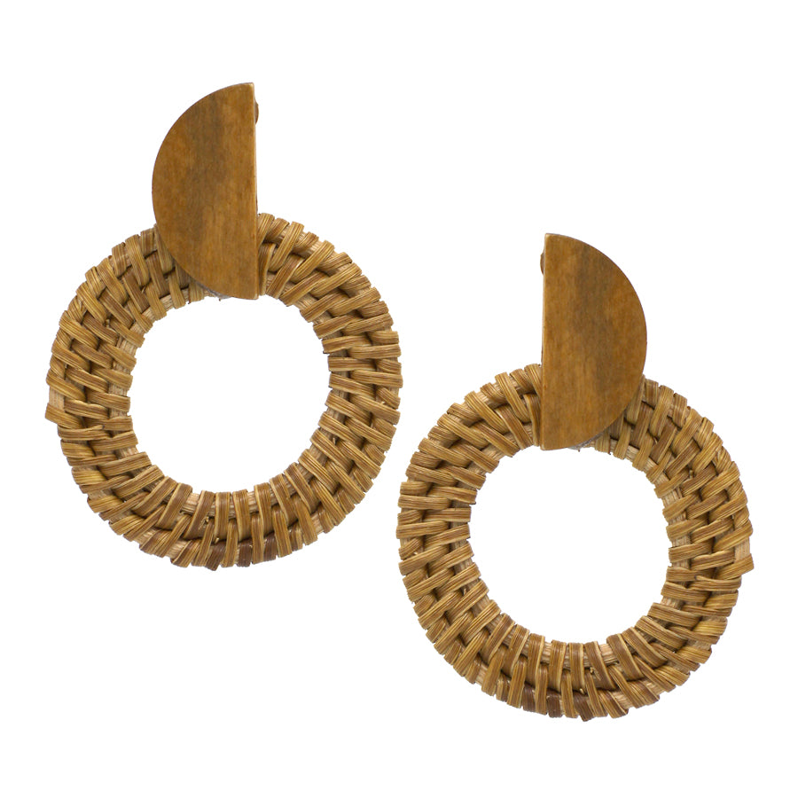 Wood Half Moon Top With Straw Hoop Earrings