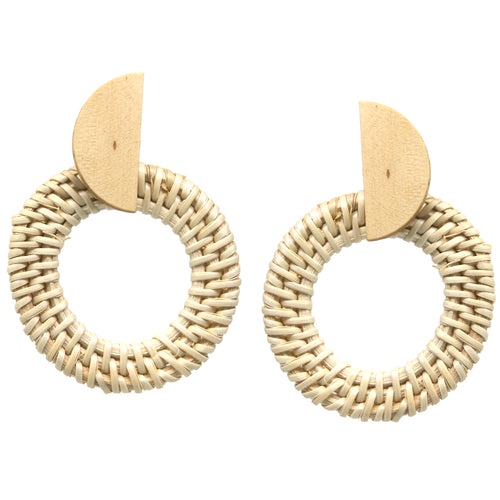 Straw Circle with Wood Half Circle Earrings
