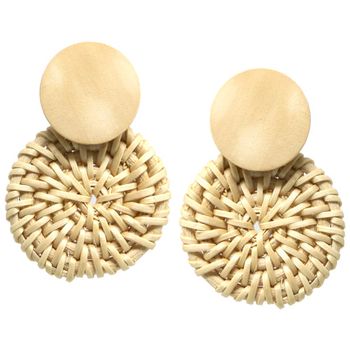 Circle Straw With Wood Circle Earrings