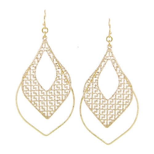 Lightweight Pattern Cutout With Skinny Hoop Drop Earrings