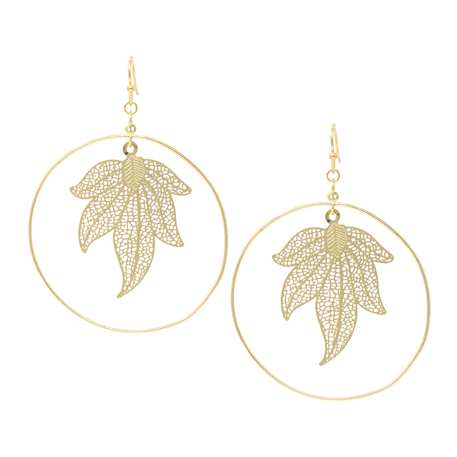 Skinny Hoop With Leaf Drop Earrings