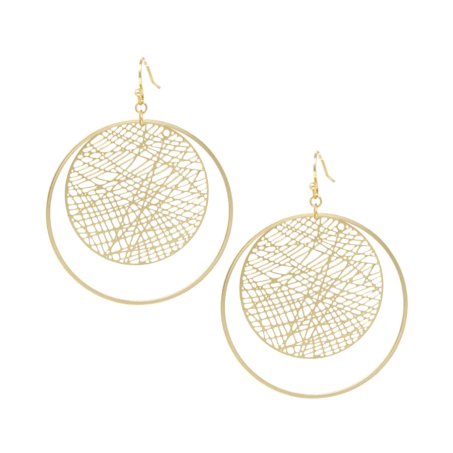 Pattern Cutout Disc With Skinny Hoop Layered Drop Earrings