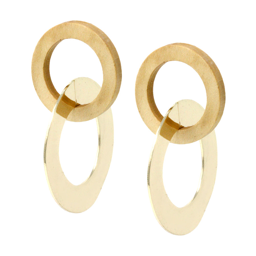 Urban Geometric Wooden And Metal Hoop Twist Earrings