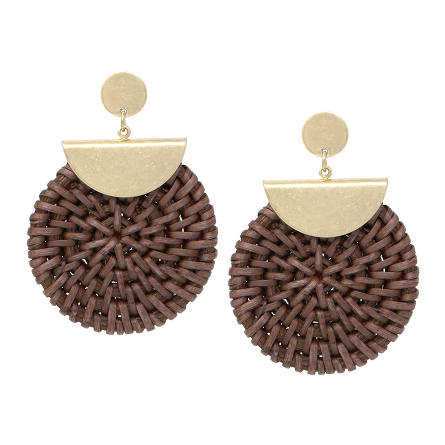 Metal Disc Top With Straw Disc Drop Earrings