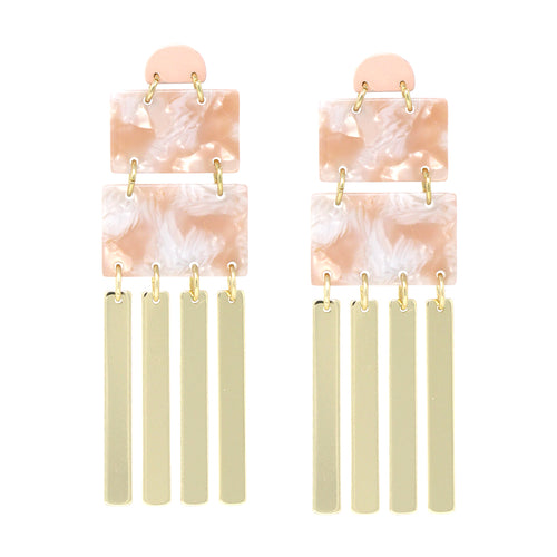 Acetate With Metal Bar Fringe Drop Earrings