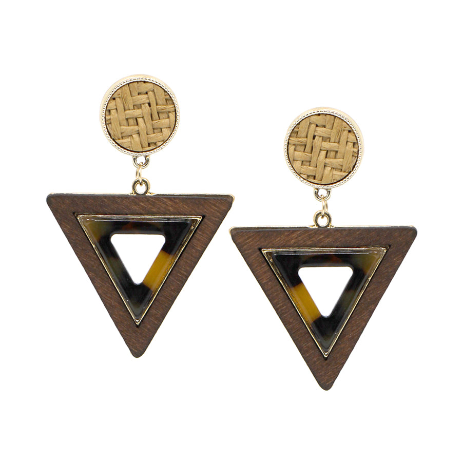 Straw Top With Triangle Wood Framed Acetate Drop Earrings
