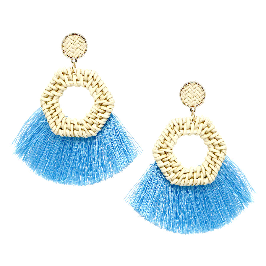 Ivory Straw Hoop With Tassel Fringe Drop Earrings