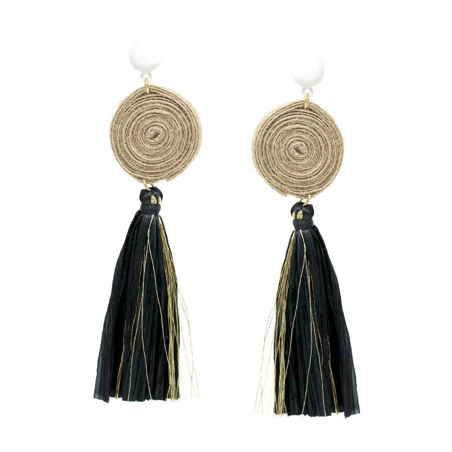 Yarn Wrapped Disc With Raffia Tassel Drop Earrings
