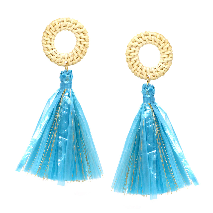 Straw Hoop With Raffia Tassel Drop Earrings