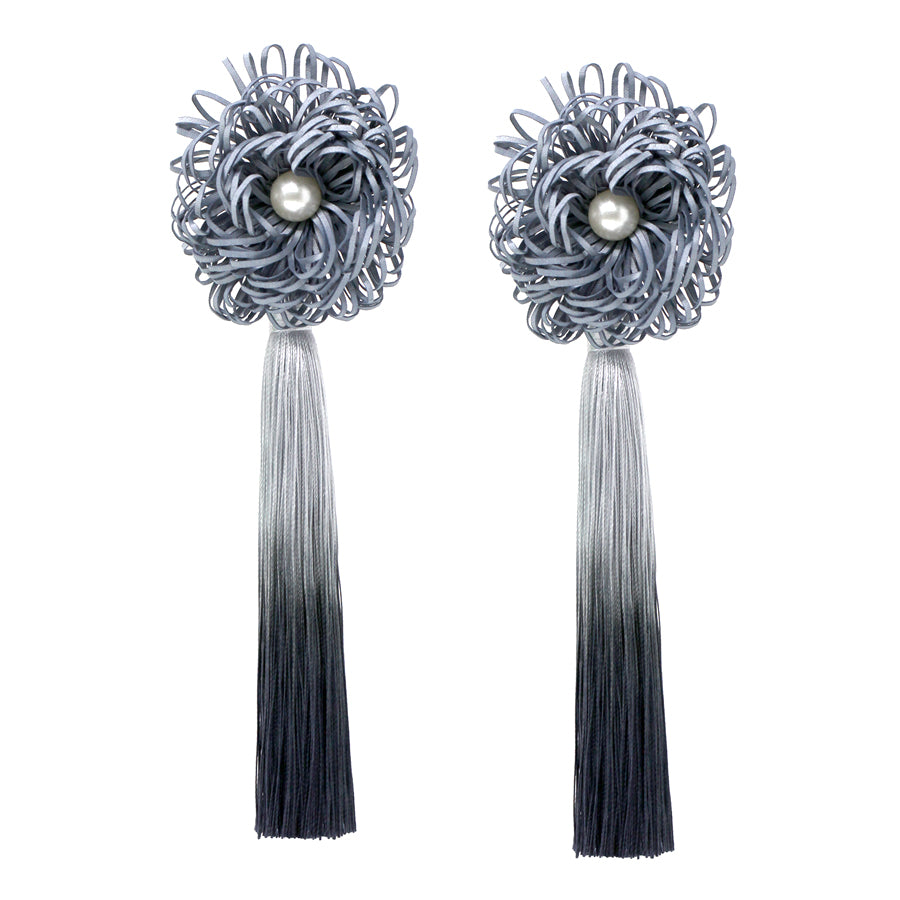 Chunky Flower With Tassel Long Drop Earrings