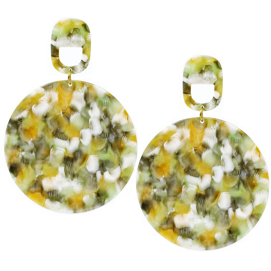 Acetate Mosaic Chunky Disc Drop Earrings