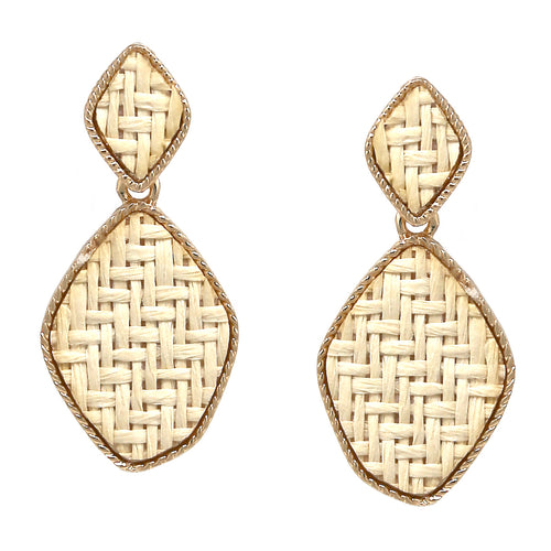 Double Diamond Shape Basket Weave Drop Earrings