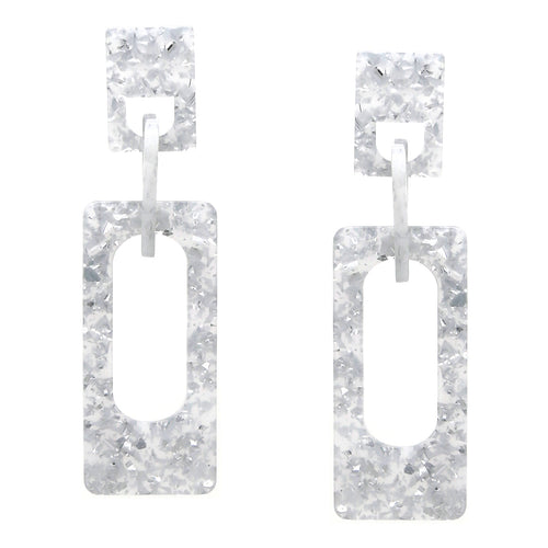 Rectangular Shape Acetate Linked Drop Earrings