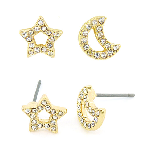 Star Moon Mini Studs Earrings
