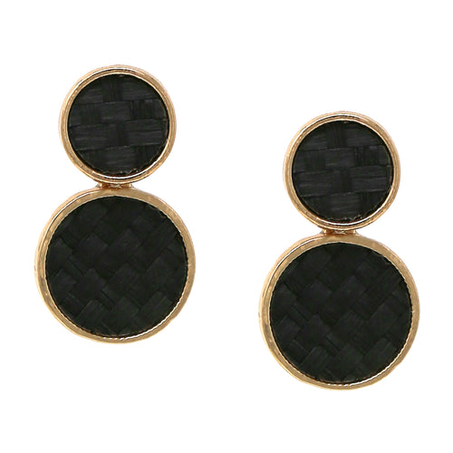 Double Basket Weave Disc Drop Earrings