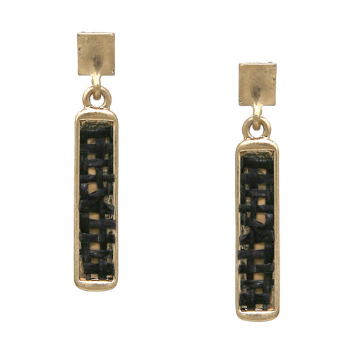 Basket Weave Bar Drop Earrings