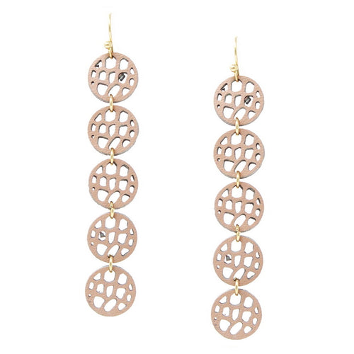 Leather Laser Cutout Disc Linear Drop Earrings