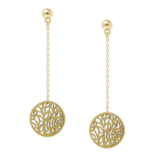Laser Cutout Disc Chain Drop Earrings