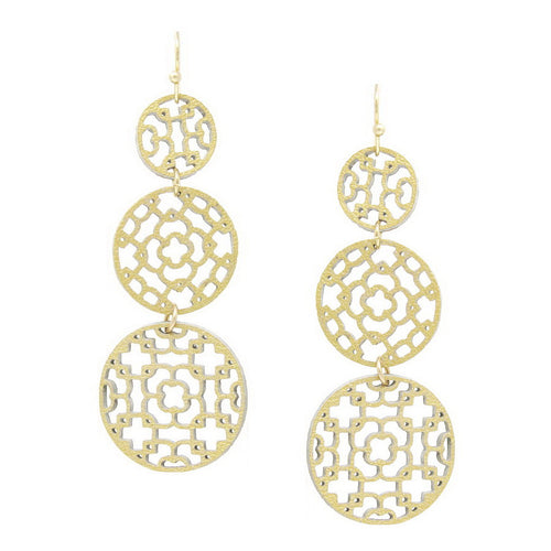 Leather Laser Cutout Triple Disc Drop Earrings