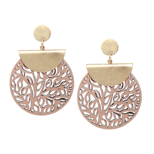 Metal Top With Laser Cutout Faux Leather Disc Drop Earrings