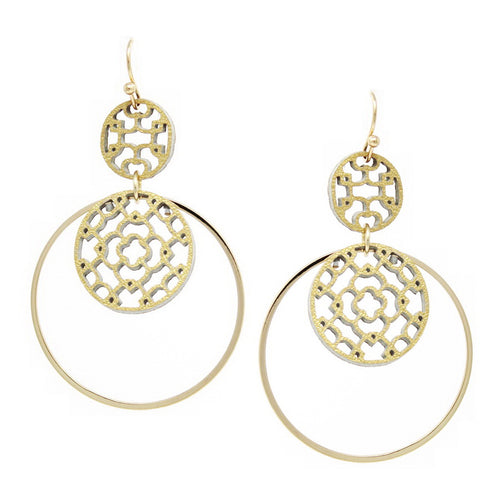 Leather Laser Cutout Disc Skinny Hoop Drop Earrings
