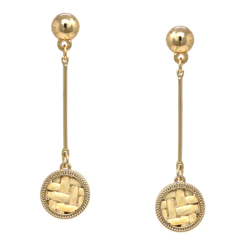 Basket Weave Disc Bar Drop Earrings