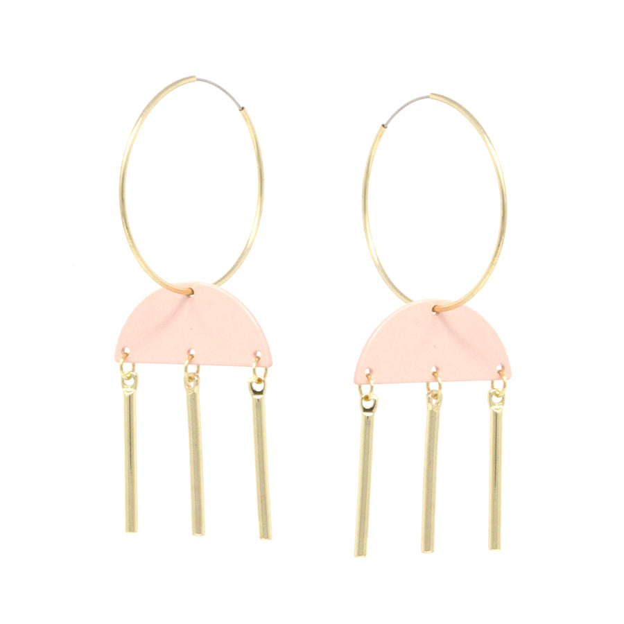 Color Coated Geometric Shape Endless Hoop Drop Earrings