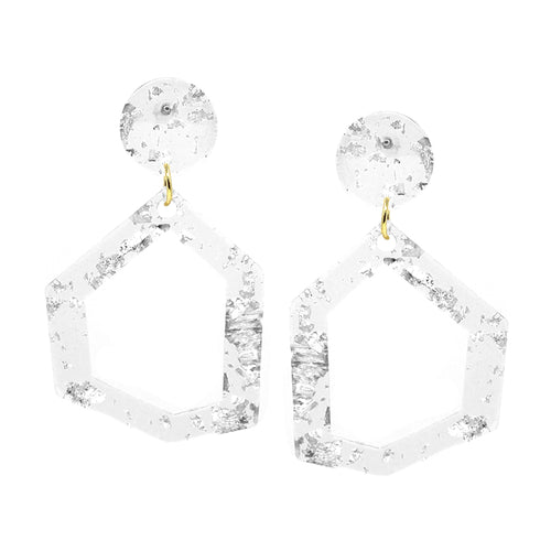 Geometric Shape Clear Acetate With Flake Drop Earrings