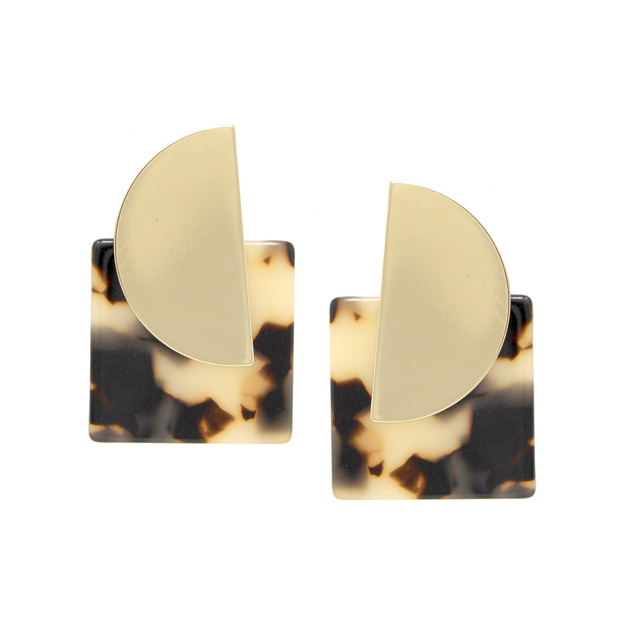 Square Shape Acetate With Half Disc Metal Stud Earrings