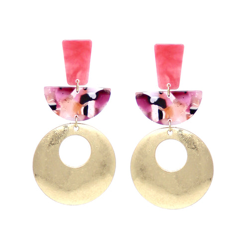 Geometric Shape Acetate With Metal Drop Earrings