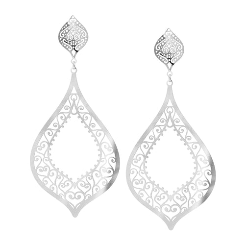 Lightweight Lace Cutout Filigree Drop Earrings