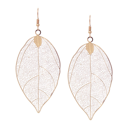 Lightweight Leaf Cutout Filigree Drop Earrings