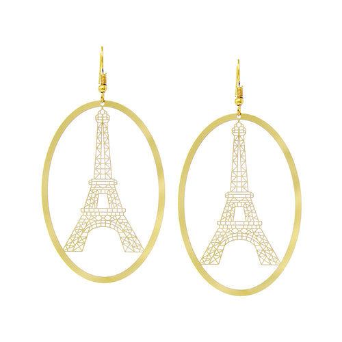 Eiffel Tower Cutout With Oval Hoop Drop Earrings